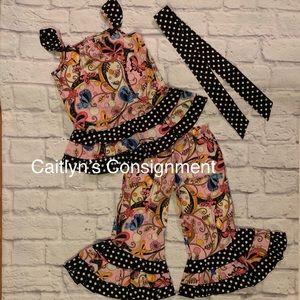 Ann Loren 'Butterflies & Polka Dots' Pant Set NWOT